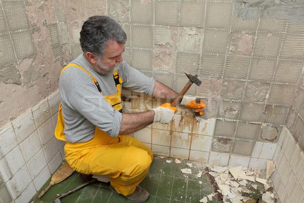 Home renovation, tile demolish Stock photo © simazoran