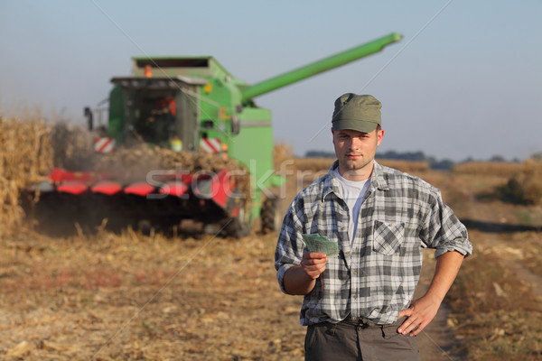 Agricultural concept, farmer, money and harvest Stock photo © simazoran
