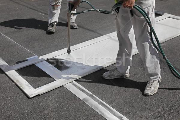 Zebra javít festmény munkás gyalogos utca Stock fotó © simazoran