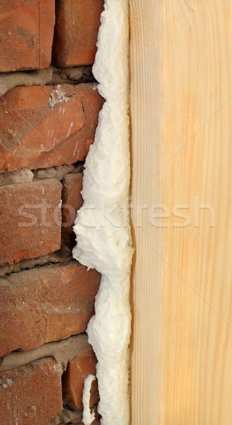 Porta finestra legno primo piano schiuma Foto d'archivio © simazoran