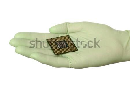 Computer bewerker menselijke hand handschoen chip Stockfoto © simazoran