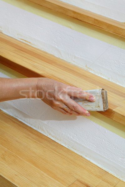 Wooden stairs sanding, home renovation Stock photo © simazoran