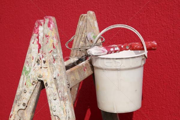 Malerei Ausrüstung rot Wand Haus malen Stock foto © simazoran