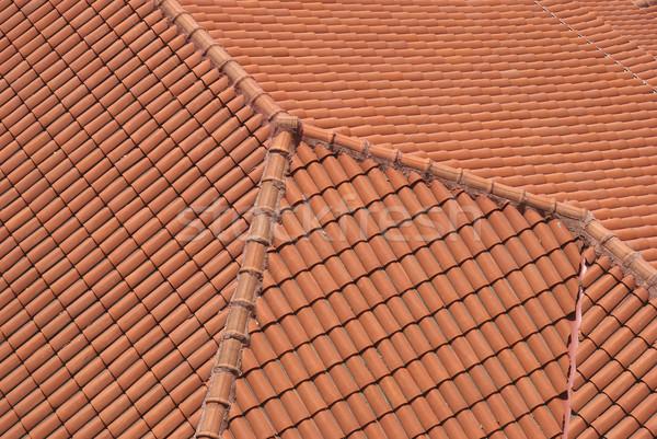 Kırmızı çatı akdeniz karo Yunanistan ev Stok fotoğraf © simazoran