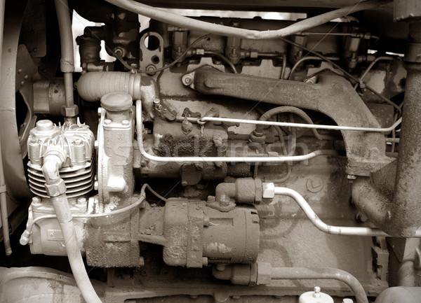 Photo stock: Tracteur · moteur · vieux · monochrome · photos