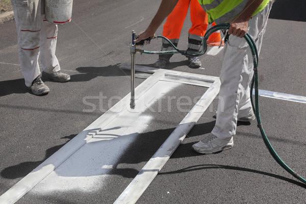 Crosswalk repairing and painting Stock photo © simazoran