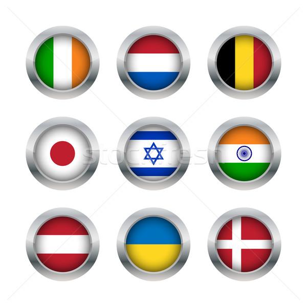 フラグ ボタン セット デザイン 世界 ストックフォト © simo988
