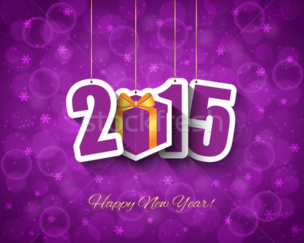 2015 új év ajándék doboz címke terv hó Stock fotó © simo988