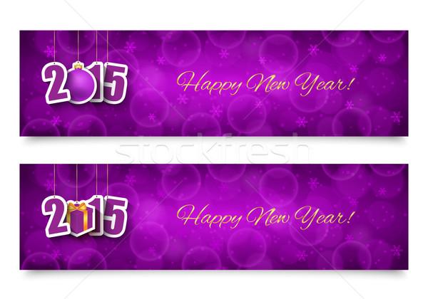 2015 nowy rok banery wiszący projektu Zdjęcia stock © simo988