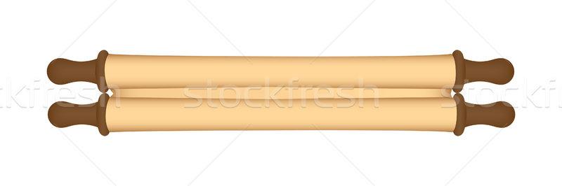 Geschlossen Pergament rollen weiß Papier Retro Stock foto © simo988