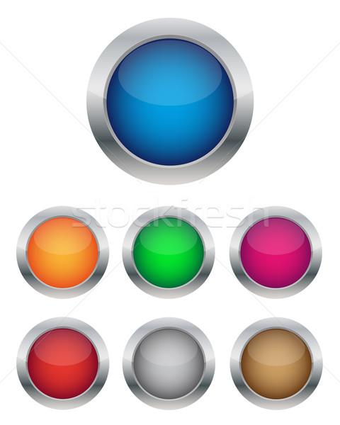 Fényes gombok gyűjtemény háló zöld kék Stock fotó © simo988