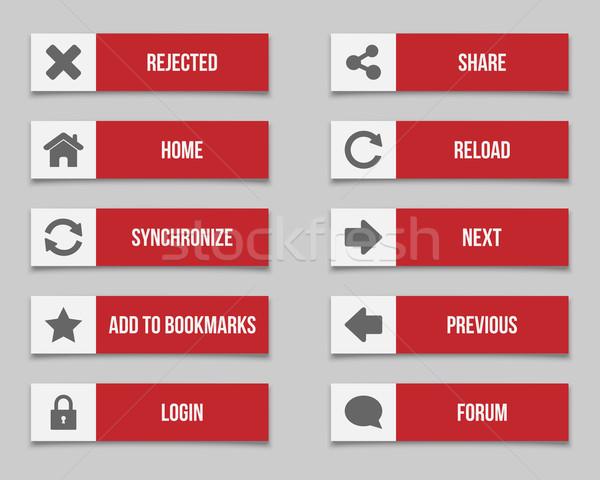 赤 ボタン セット コンピュータ ホーム 星 ストックフォト © simo988