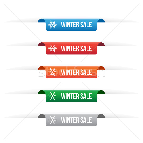 Winter sale paper tag labels Stock photo © simo988