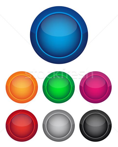 カラフル ボタン セット コンピュータ ガラス ウェブ ストックフォト © simo988