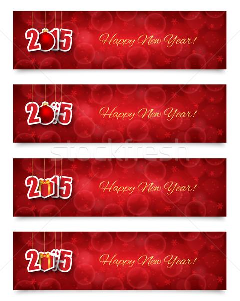 2015 ano novo banners enforcamento projeto Foto stock © simo988