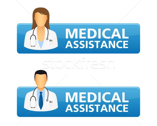 Medische hulp aanvragen knoppen arts iconen Stockfoto © simo988