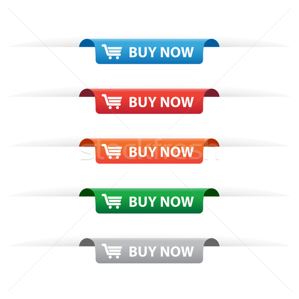 Stock photo: Buy now paper tag labels
