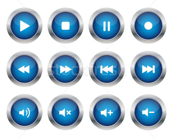 青 マルチメディア ボタン コレクション 音楽 技術 ストックフォト © simo988