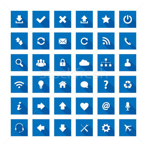 Stockfoto: Vierkante · lang · schaduw · stijl · iconen · Blauw