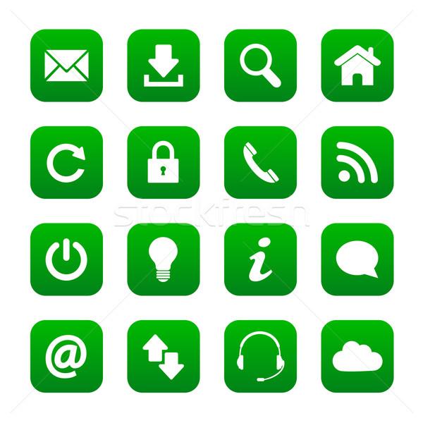 Verde web pulsanti set internet contatto Foto d'archivio © simo988