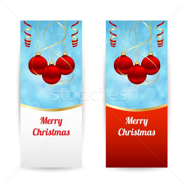 Weihnachten Banner vertikalen hängen Kugeln abstrakten Stock foto © simo988