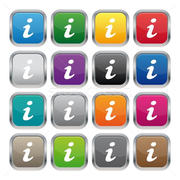 Información metálico cuadrados botones colores Foto stock © simo988