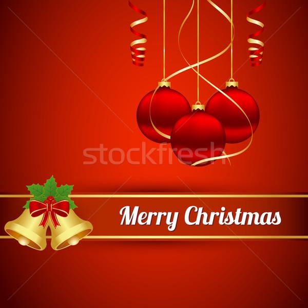 Karácsony golyók labda piros arany ajándék Stock fotó © simo988