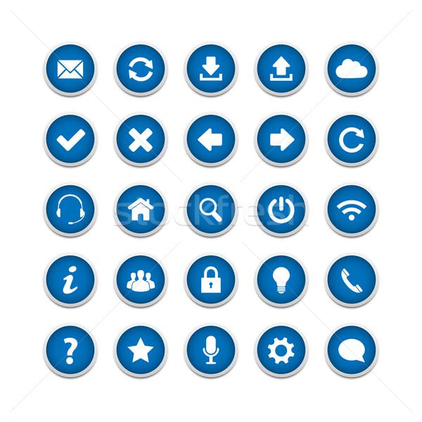 ウェブ ボタン セット 青 ビジネス コンピュータ ストックフォト © simo988