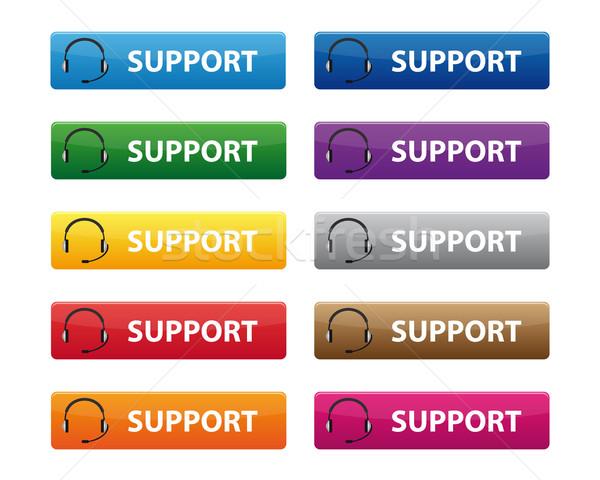Támogatás gombok különböző színek üzlet technológia Stock fotó © simo988
