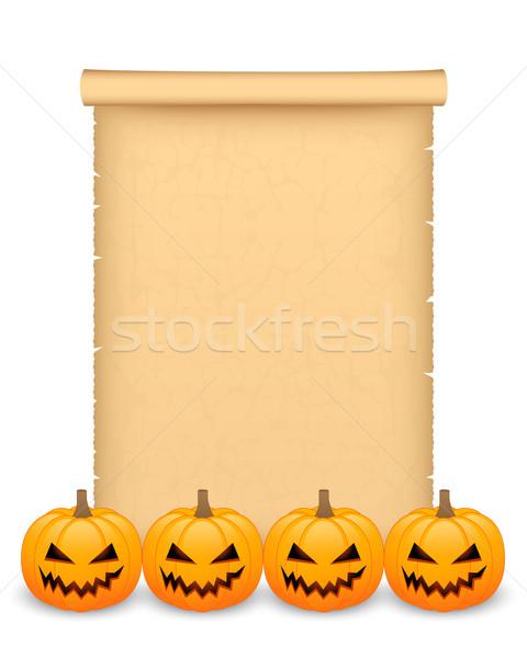 Halloween perkament pompoenen papier achtergrond frame Stockfoto © simo988