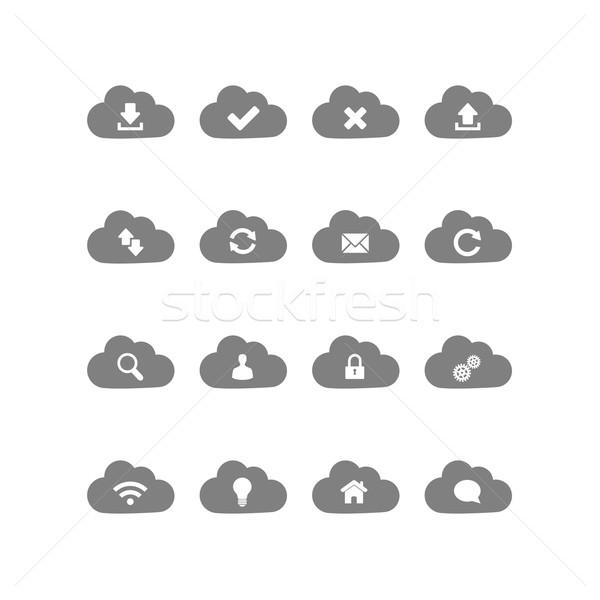 Stock fotó: Felhő · alapú · technológia · ikon · szett · ikonok · üzlet · otthon · kereszt