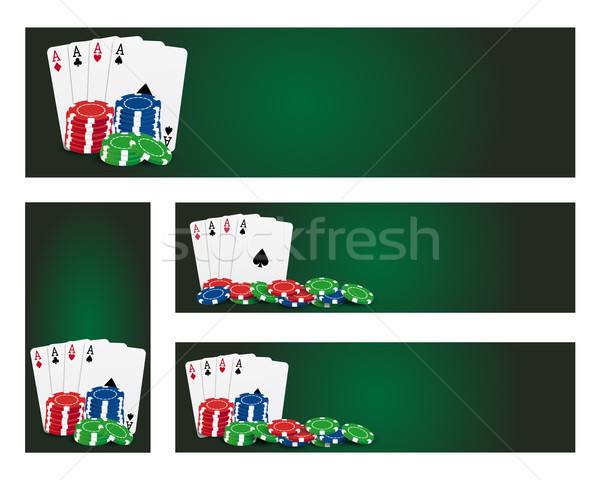 Poker banners ingesteld banner kaarten abstract Stockfoto © simo988