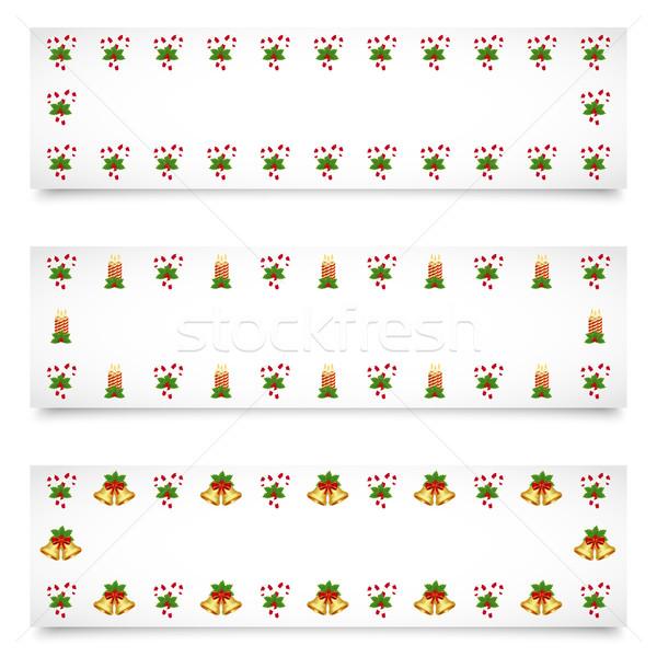 Karácsony bannerek különböző díszítések boldog levél Stock fotó © simo988