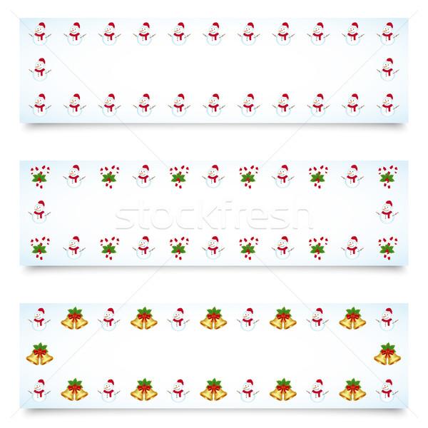 Christmas banery różny dekoracje szczęśliwy liści Zdjęcia stock © simo988