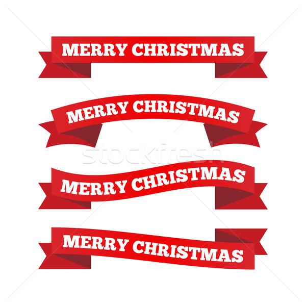 Karácsony szalagok szett négy papír terv Stock fotó © simo988