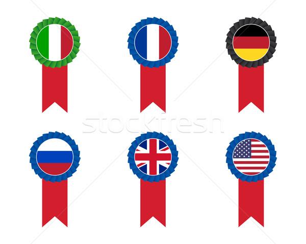 Bandeira conjunto negócio azul preto Foto stock © simo988