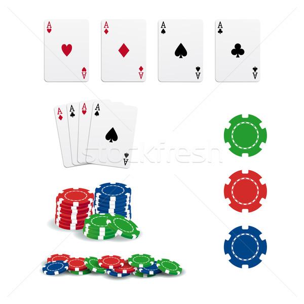 Póquer tarjetas chips aislado blanco corazón Foto stock © simo988