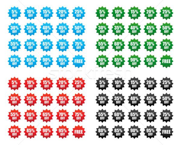 árengedmény ár címkék különböző színek üzlet Stock fotó © simo988
