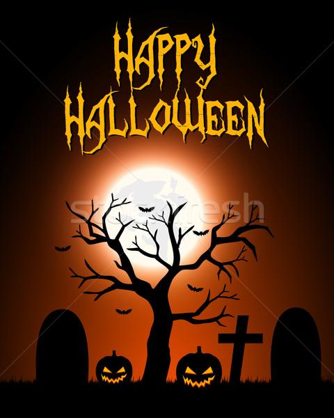 Halloween kártya sötét tájkép égbolt boldog Stock fotó © simo988