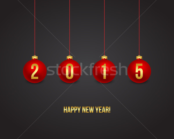 2015 Neujahr rot Kugeln abstrakten Rahmen Stock foto © simo988