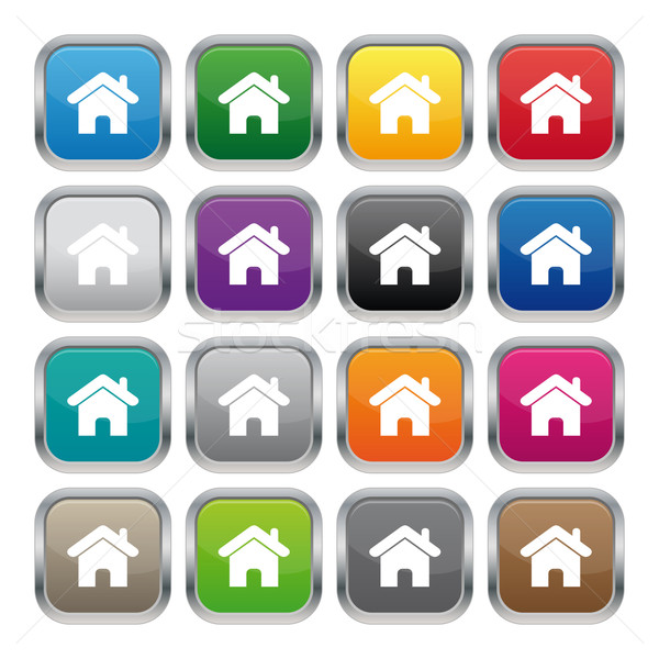 Home metalen vierkante knoppen kleuren Stockfoto © simo988