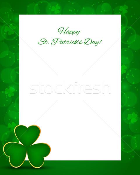 Szent Patrik napja kártya shamrock absztrakt levél háttér Stock fotó © simo988
