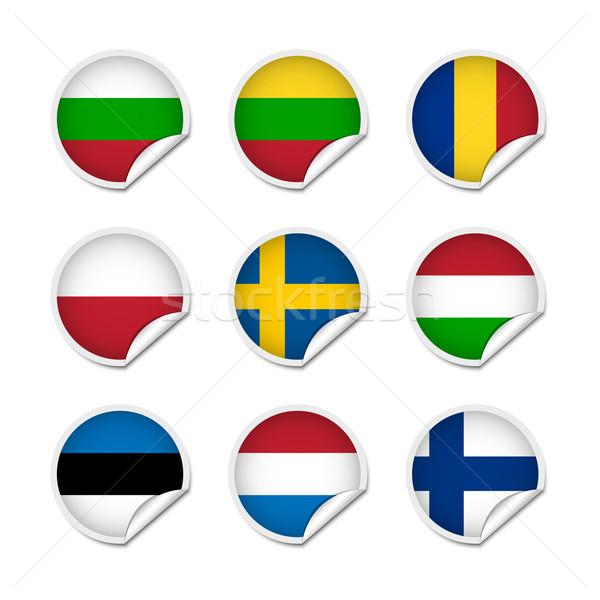 Flagge Aufkleber Set unterschiedlich Welt Taste Stock foto © simo988