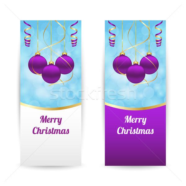 Navidad banners vertical colgante feliz Foto stock © simo988