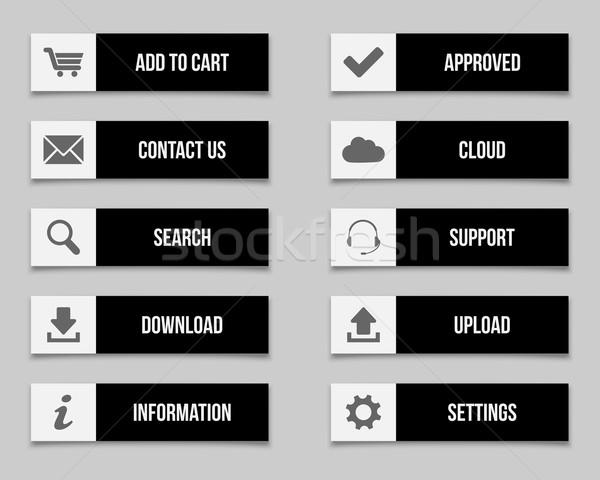 黒 ボタン セット コンピュータ インターネット 技術 ストックフォト © simo988