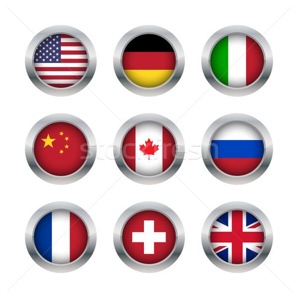 フラグ ボタン セット 世界 中国語 ストックフォト © simo988
