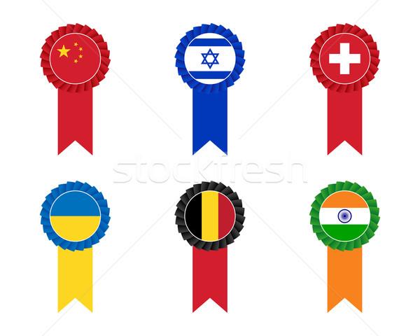 Bandeira conjunto negócio azul preto chinês Foto stock © simo988