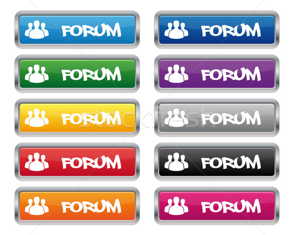 Forum métallique rectangulaire boutons couleurs Photo stock © simo988