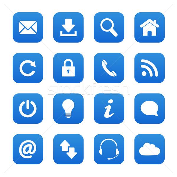 Kék háló gombok szett internet kapcsolat Stock fotó © simo988