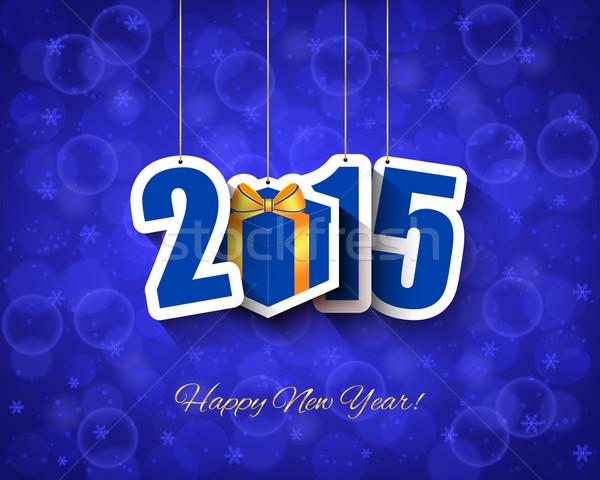 2015 Neujahr Geschenkbox Tag Design Schnee Stock foto © simo988